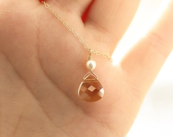 Tiny Crystal Necklace, Pearl Necklace, Dainty Necklace, Bridesmaid Necklace, Mother of Bride Gift, Gold Fill, Sterling Silver, Rose Gold