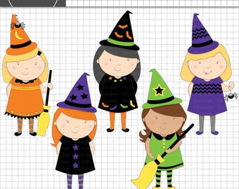 Halloween Clipart, Witches Clip Art, Little Witch Digital Graphics, Commercial Use, Instant Download