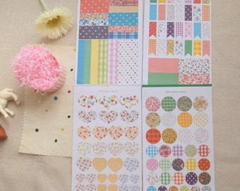 Sticker -  4 sheets of vintage and fabric pattern in circle, heart, flag and rectangular shape and decoration (Scrapbooking collection)