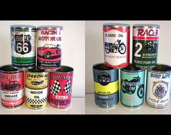 vintage classic motor oil cans storage garage reproduction display props gas station mechanics collectible rustic or normal option of lids