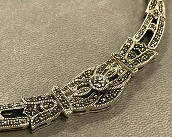 Vintage Sterling Silver Marcasite Necklace Bridal Prom Special Occasion