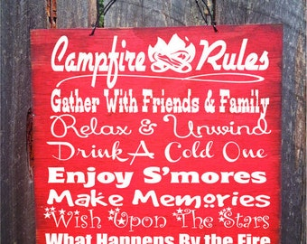 campfire sign, camping decor, camping sign, camp decor, camping, camper sign, campfire decor, campfire rules sign, 166/88