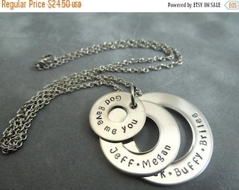 Holiday Sale 3 washer necklace, mothers necklace, hand stamped stainless steel