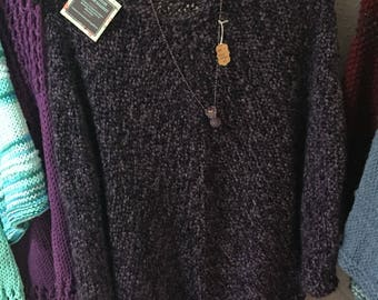 Hand Knit Poncho in Gothic Purple