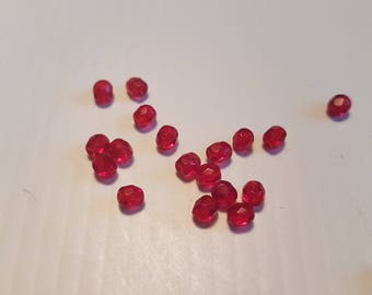 Faceted 4MM Ruby Red 2