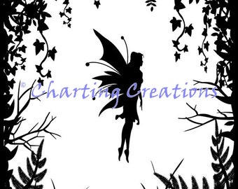 Fairy Silhouette Counted Cross Stitch Pattern