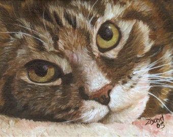 BROWN TABBY CAT ART PRINT ON WATERCOLOR PAPER  MJ ZORAD
