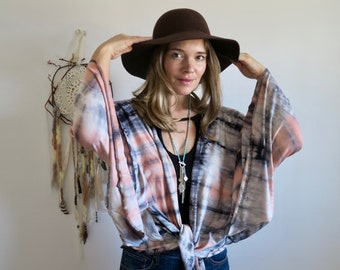 Morning Dew Tie Dye Bell Sleeve Bohemian Hippie Kimono Jacket Sweater Flowy Stretchy Festival Outfit One Size Fits All