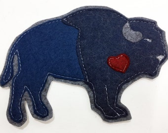 "Blue Buffalo ""buffalove"" Felt Sew on Patch"