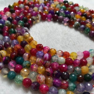 1 Full strand 8mm 10mm Multicolor Agate Beads , Faceted Round Agate Beads  ,  bracelet beads , Gemstone Beads ,Wholesale Bead ,Findings