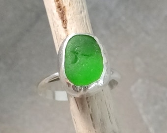 Lime Green Sea Glass Ring set in Sterling Silver size 8.5