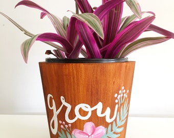 Hand painted 5 inch wooden plant/flower pot