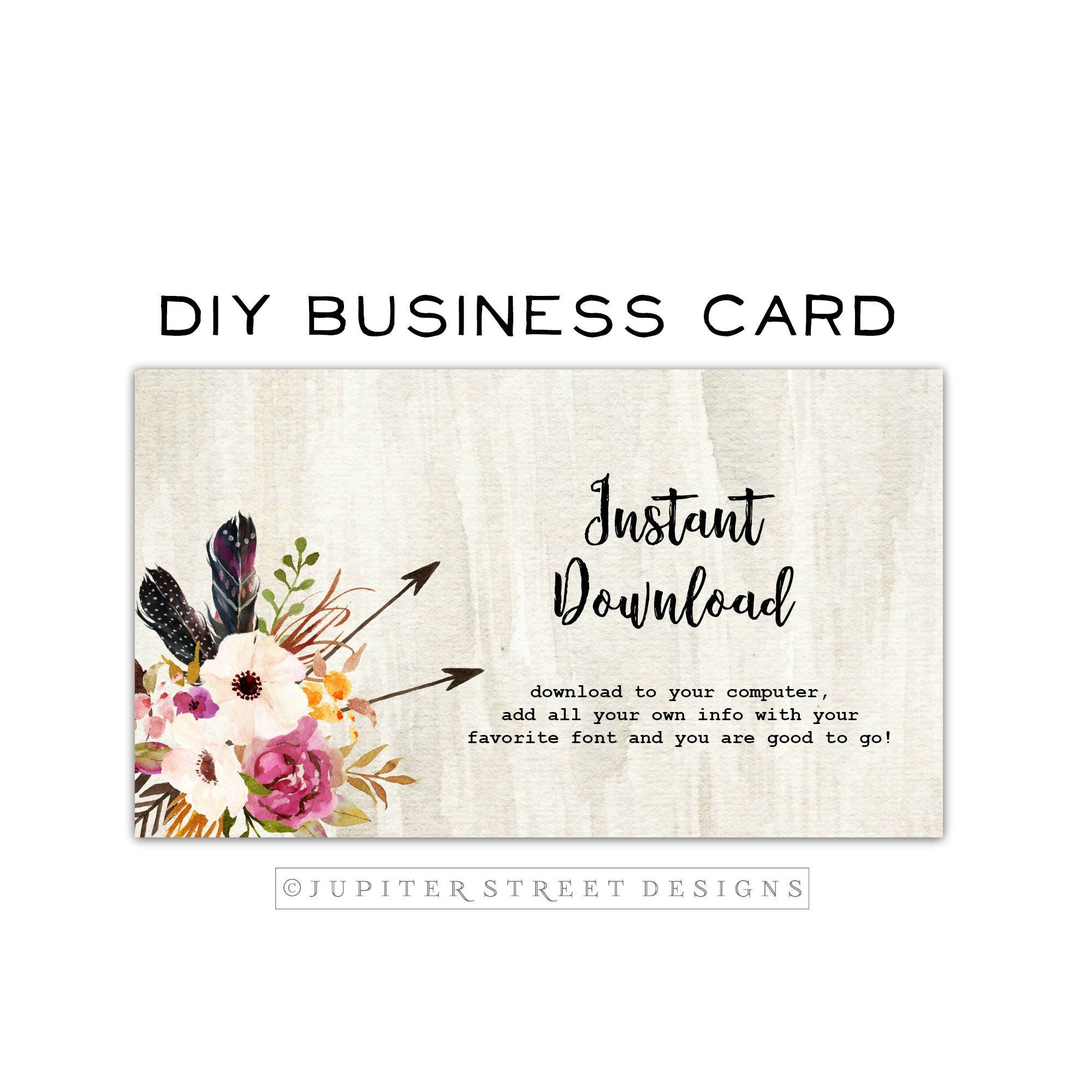 DIY Boho Business Card-Arrow Business Card-Flower Business