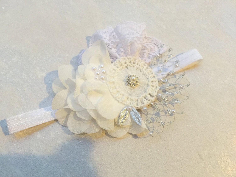 White Fabric Flower Headband Pearl Headband French Vail