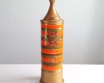 Vintage Rosenthal Netter Italy Gold and Orange Tall Covered Jar Canister Mid Century Modern Aldo Londi