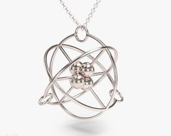 science jewelry: silver atom necklace - chemistry gift - 3D printed atom pendant - periodic table - electron - physics