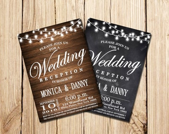 WEDDING RECEPTION Invitation, PSVP, Rustic Wedding Reception Invitation, Chalkboard, Wooden