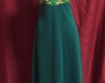 Polyester Long Green floral dress/60s/70s/Size7/XS