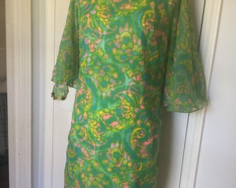 60s Mod Psychedelic Shift Dress Bell Flared Sleeves Chiffon Green Size Small