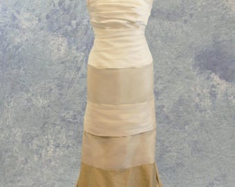 Convertible Wedding Dress Layered Striped Badlands White to Gold Beige SAMPLE SALE!