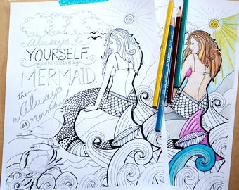 Printable Coloring Pages for Adults PDF, Mermaid, Hand Drawn Detailed DIY Print, Instant Download, Printable Adult Colouring Sheet