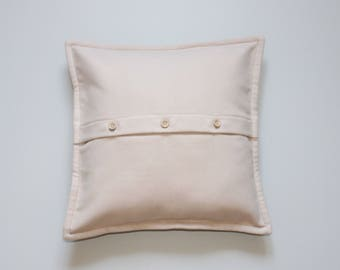 Ivory pillow cover with buttons 16x16 inch 40x40 cm