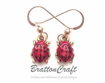 Hand Painted Red Ladybug Earrings - Gold Ladybug Earrings - Gold Ladybug Jewelry - Insect Earrings - Insect Jewelry - Bug Earrings