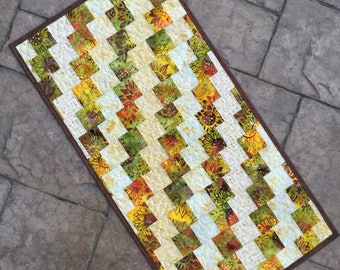 """Quilted bargello batik table runner topper  16"""" x 31.5"""".  Sunflowers."""
