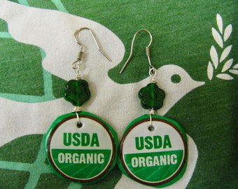 Recycled bottle cap earrings,Organic GREEN Upcycled bottle cap earrings,Earth day earrings