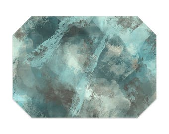 Gray and teal placemat, turquoise placemats, abstract placemats, printed cloth placemat, fabric placemats, table linens, table setting
