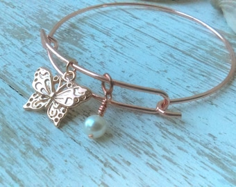 Butterfly bangle, rose gold butterfly, butterfly pearl