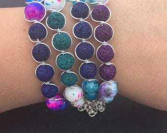 Wire wrapped essential oil diffuser bracelet