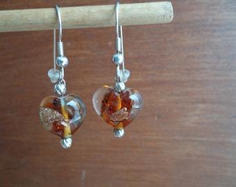 Murano glass heart earrings.