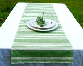 SALE Table Runner - Hemp Organic Cotton - Green Natural Stripes - Eco Friendly Home