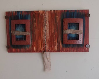 """24"""" x 12"""" Mixed Media Abstract Oil Painting on Canvas"""