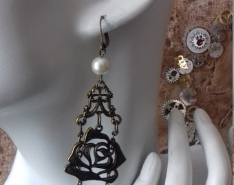 openwork rose with pearl, steampunk