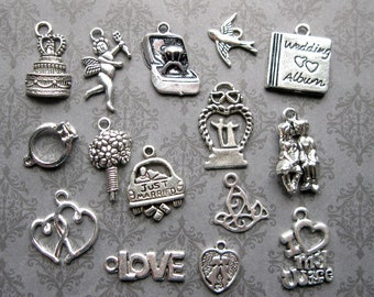 15 Wedding Charms in Silver Tone - C2700