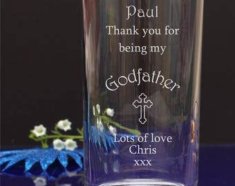 Personalised Engraved Thanks for being my Godmother/Godfather Hi-ball, Mixer Glass Christening present 83