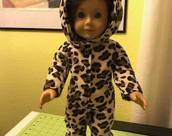 "18"" Doll Pajamas.  Leopard Print Hooded Onesie Will fit American Girl dolls"