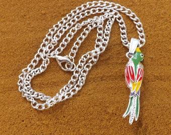 Parrot pendant, enamel parrot necklace, colourful parrot pendant, bird necklace