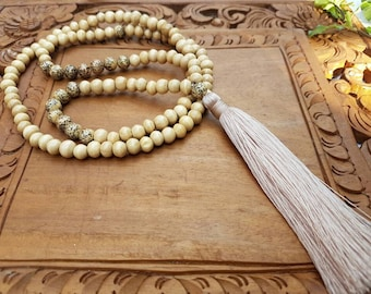 Tan- natural colour wood bead tassel necklace, wooden bead tassel necklace, long wood bead tassel, statement necklace, bright necklace