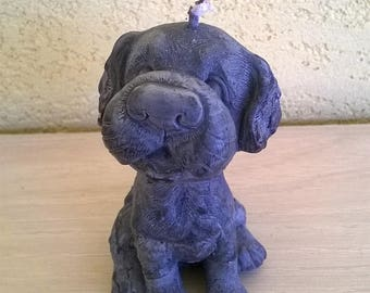 "Handcrafted vegetable wax candle in the shape of dog ""black"""