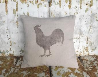 Farm ROOSTER Pillow / Square Cotton Farmhouse Style Vintage Printed Throw Pillow / Farmhouse Cottage Rustic Home Decor