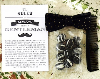 Unique gift pack for a little gentleman - Handmade bow tie, Aniseed humbugs, Comb and Gentleman's Rules