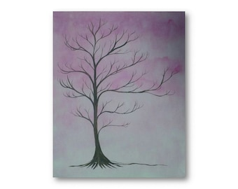 Thumbprint tree guest book original painting Dogwood tree finger print tree or family tree tree guest book artbyevelynmarie original art