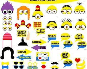 Instant Download Minion Inspired Printable Photo Booth Prop Set