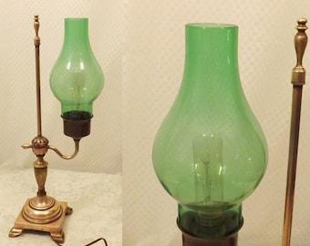 Vintage Brass Copper Bankers Gaslight Lamp w Green Globe