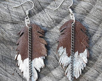 Upcycled Leather Feather Laser-cut Earrings