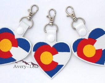 Colorado Flag Heart Key Fob   Colorado Flag Heart Snap Tab   Colorado Key Chain   Colorado Backpack Clip   Key Chain   Backpack Clip