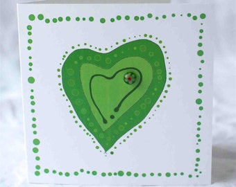 Blank greeting card | green love heart card | unique fused glass bloblett